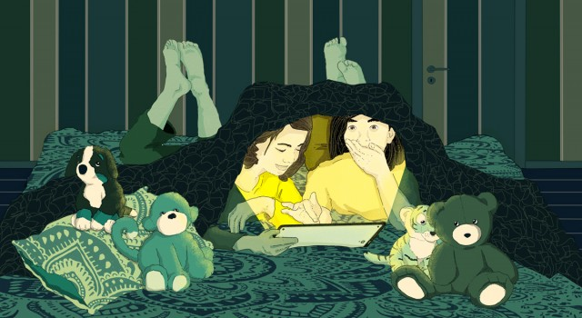 family-technological-sleepovers-girls-tablet-digital-age-wsj-wall-street-journal-lifearts-publishing-newspaper-fabio-delvo-delvox-conceptual-illustration-illustrations