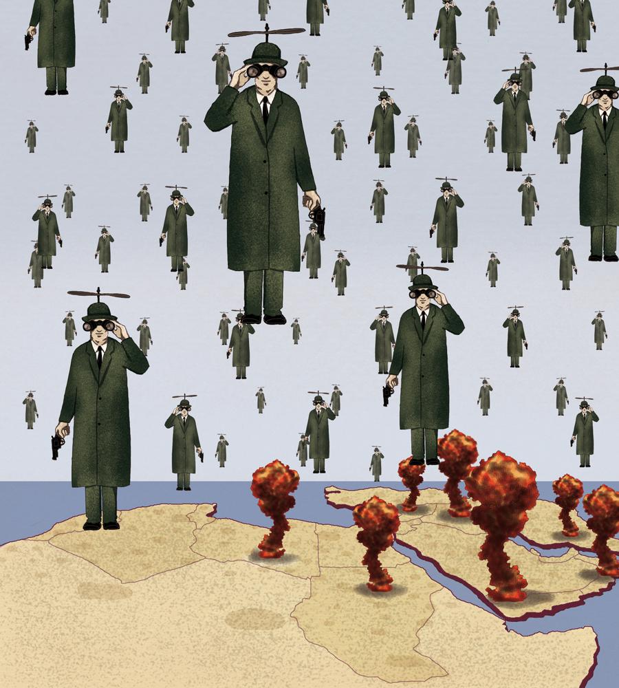 guerra-droni-africa-medio-oriente-politica-la-stampa-newspaper-editoriale-fabio-delvo-delvox-conceptual-illustrations-illustrazioni-concettuali-concettuale-publishing