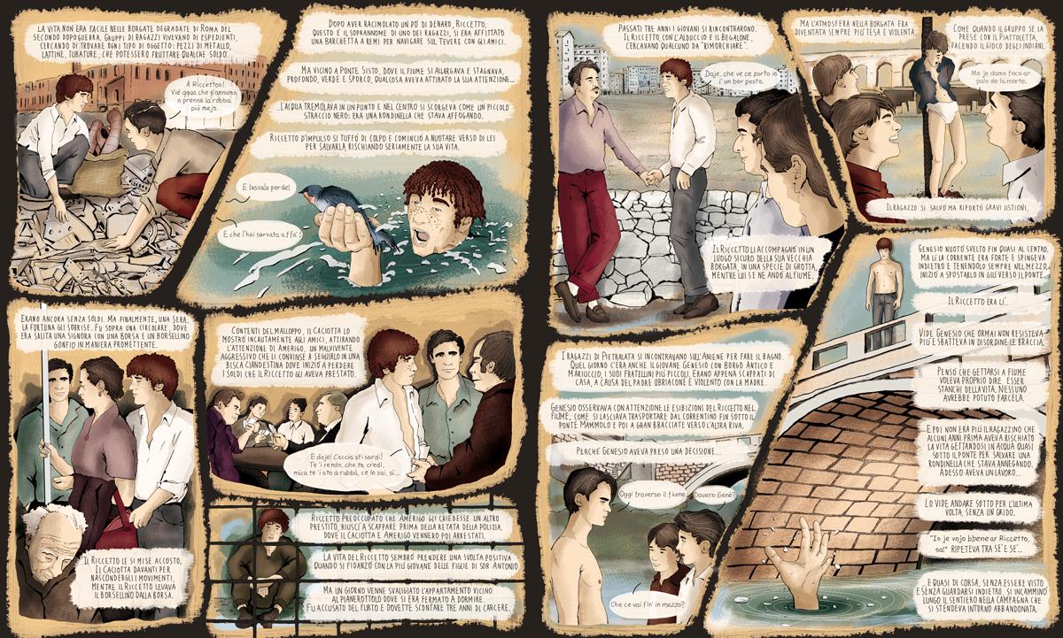 ragazzi-di-vita-pasolini-riccetto-roma-classico-fumetto-comics-fumetti-libri-classici-graphic-novel-tuttolibri-la-stampa-newspaper-fabio-delvo-delvox-illustrations-illustrazioni-publishing