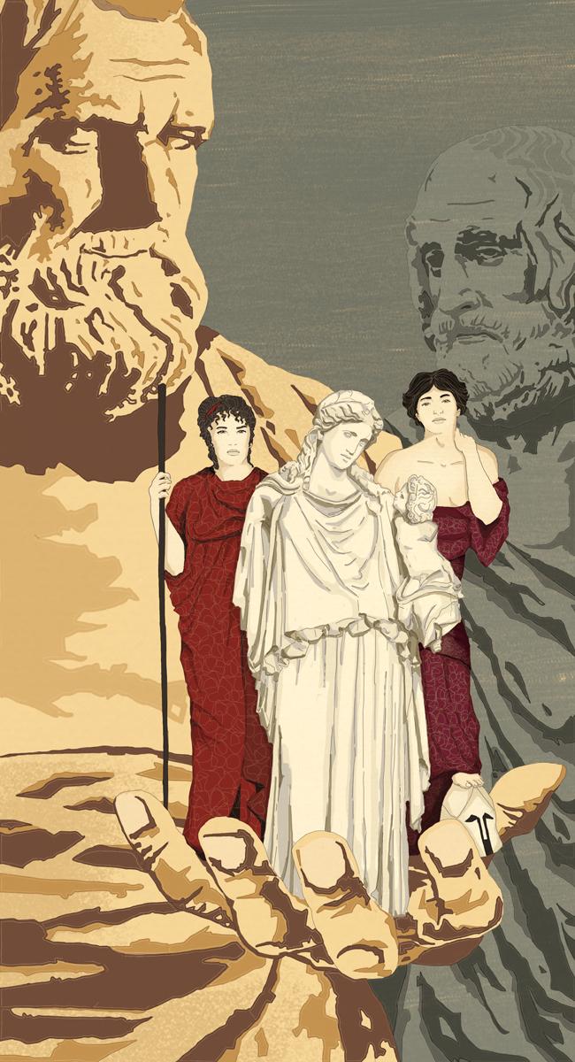 aristofane-euripide-lisistrata-teatro-greco-libri-books-illustrazione-concettuale-conceptual-illustrations-corriere-della-sera-la-lettura-fabio-delvo-delvox-publishing