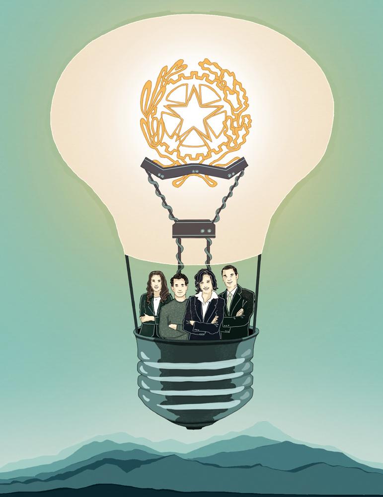 innovazione-italia-scuola-giovani-idee-imprenditori-politica-la-stampa-newspaper-editoriale-fabio-delvo-delvox-conceptual-illustrations-illustrazioni-concettuali-concettuale-publishing