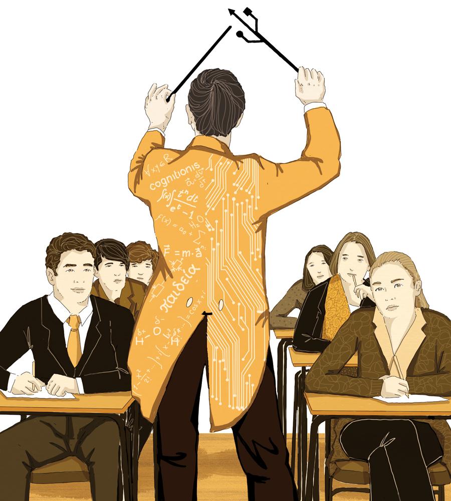 sapere-scuola-digitale-greco-latino-insegnamento-politica-la-stampa-newspaper-editoriale-fabio-delvo-delvox-conceptual-illustrations-illustrazioni-concettuali-concettuale-publishing
