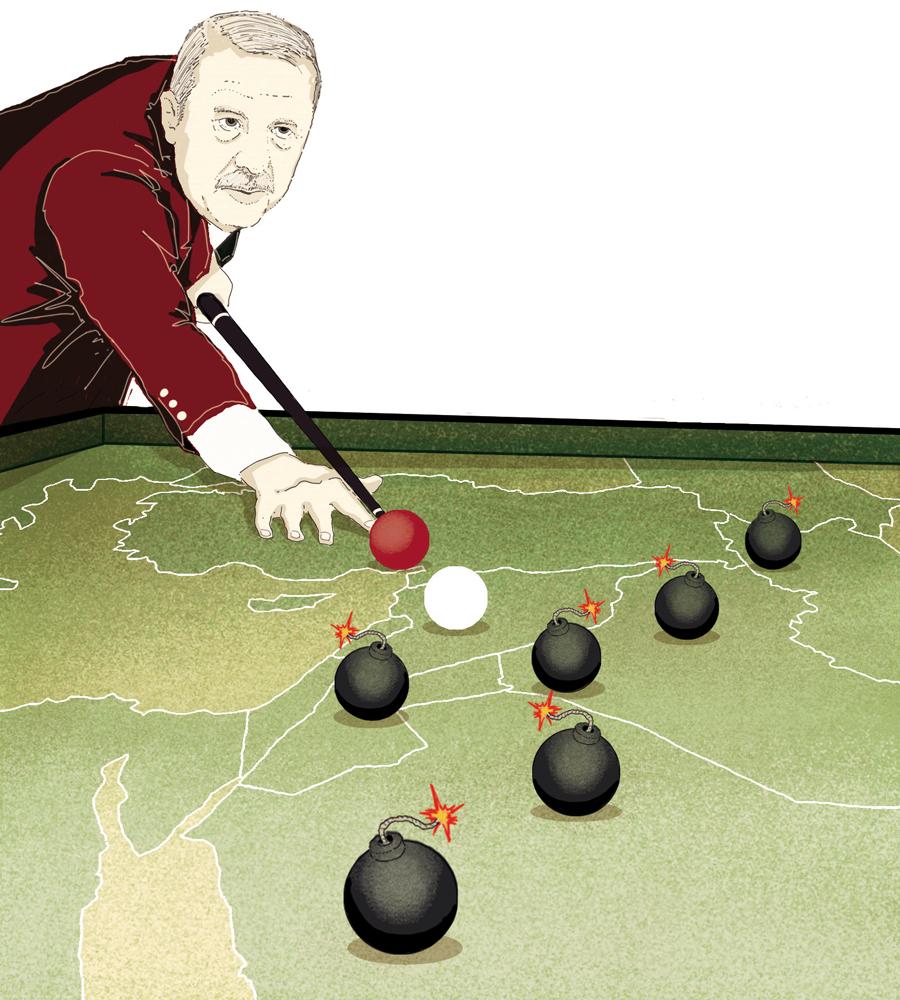 turchia-erdogan-siria-guerra-conflitto-dominio-politica-la-stampa-newspaper-editoriale-fabio-delvo-delvox-conceptual-illustrations-illustrazioni-concettuali-concettuale-publishing