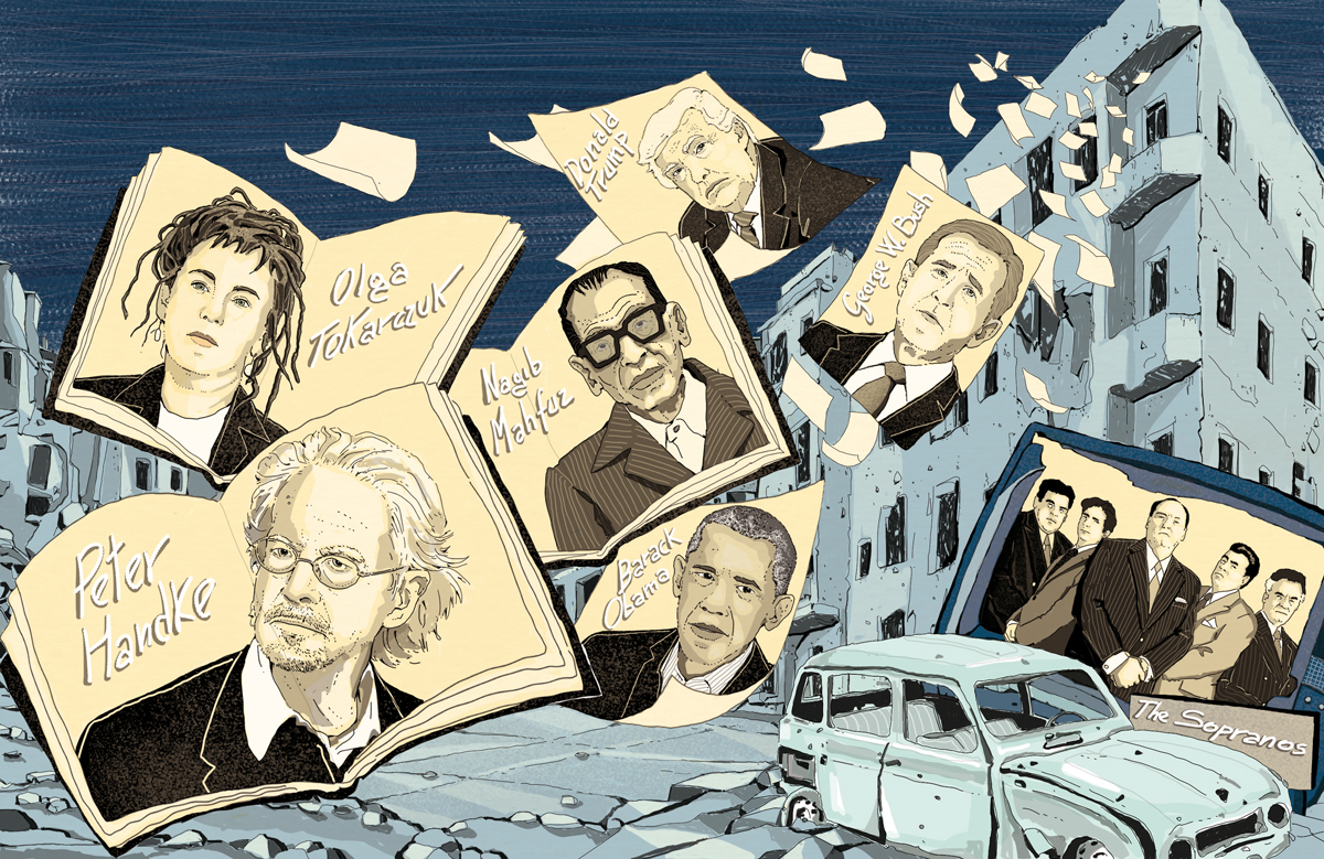 fallimento-narrativa-premio-oscar-handke-trump-obama-bush-letteratura-corriere-della-sera-la-lettura-illustrazione-illustrations-conceptual-concettuale-fabio-delvo-delvox-publishing-book
