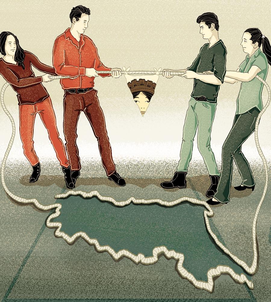 elezioni-emilia-romagna-regionali-sovranisti-progressisti-maginot-politica-la-stampa-newspaper-editoriale-fabio-delvo-delvox-conceptual-illustrations-illustrazioni-concettuali-concettuale-publishing