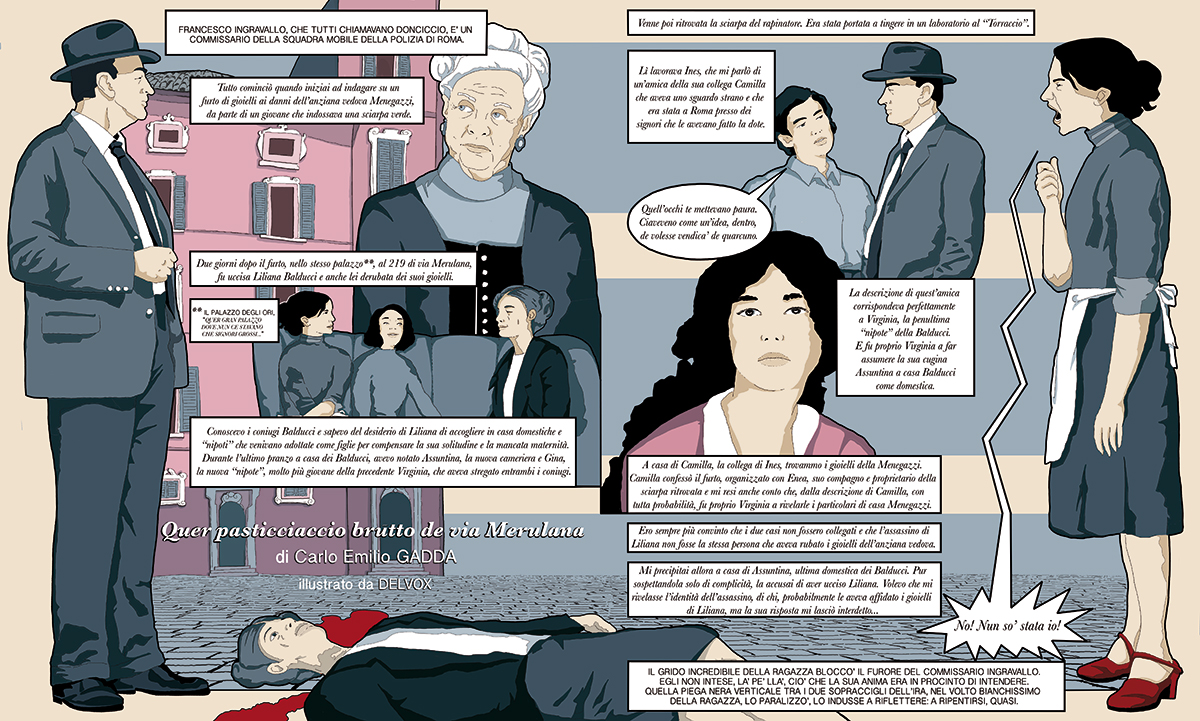 pasticciaccio-via-merulana-carlo-emilio-gadda-classico-fumetti-giallo-commissario-libri-graphic-novel-tuttolibri-la-stampa-newspaper-fabio-delvo-delvox-illustrations-illustrazioni-publishing