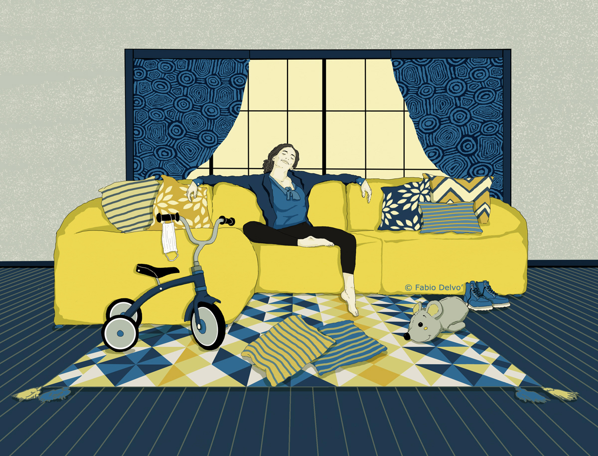 home-alone-family-life-coronavirus-wsj-wall-street-journal-lifearts-personal-journal-publishing-newspaper-fabio-delvo-delvox-conceptual-illustration-illustrations