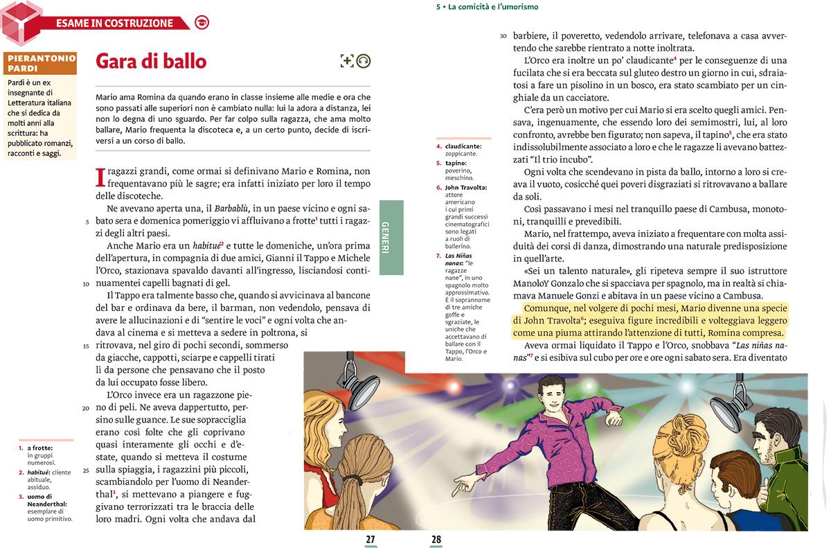 unita-5-comicita-umorismo-compagni-di-viaggio-loescher-antologia-scuola-media-gara-di-ballo-illustrazioni-illustrations-scolastica-fabio-delvo-delvox