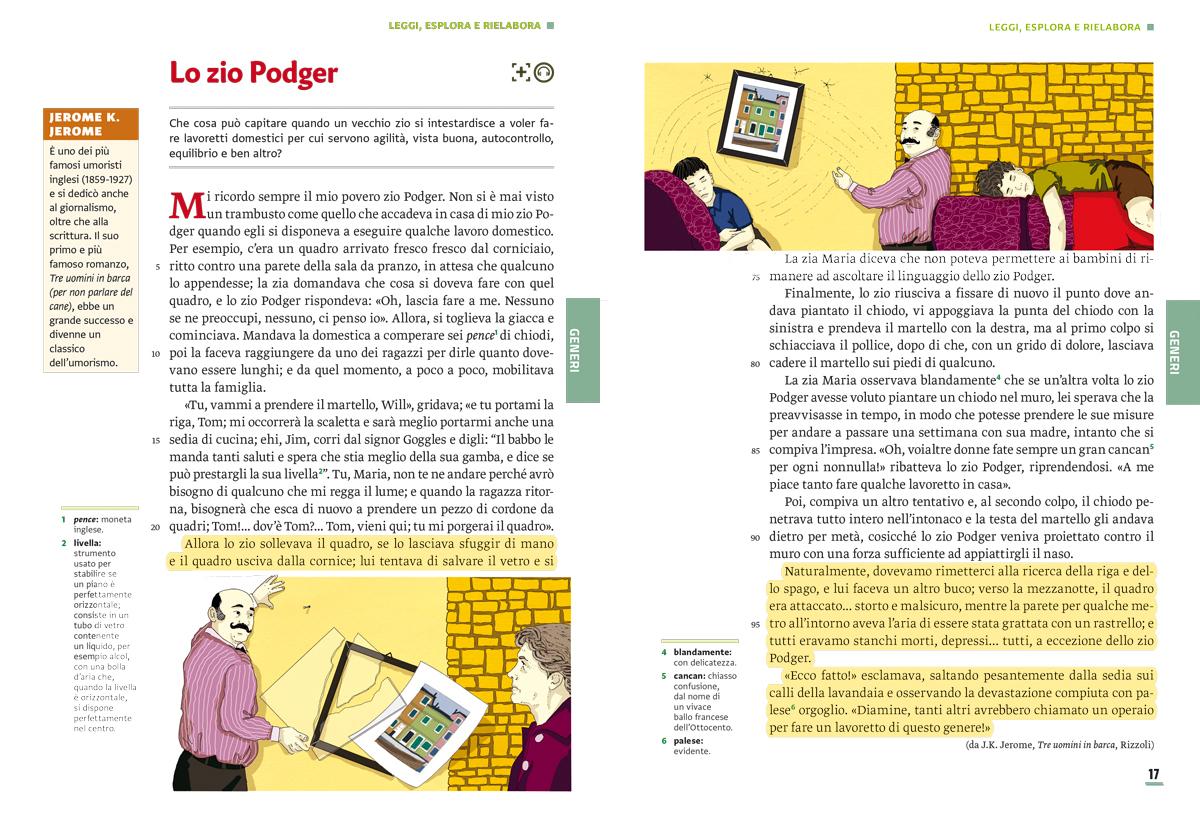unita-5-comicita-umorismo-compagni-di-viaggio-loescher-antologia-scuola-media-zio-podger-illustrazioni-illustrations-scolastica-fabio-delvo-delvox