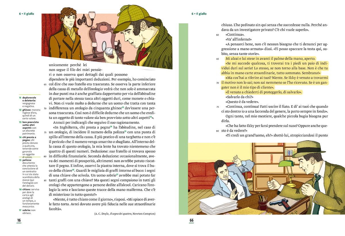 unita-6-giallo-compagni-di-viaggio-loescher-antologia-scuola-media-investigatori-sherlock-holmes-illustrazioni-illustrations-scolastica-fabio-delvo-delvox
