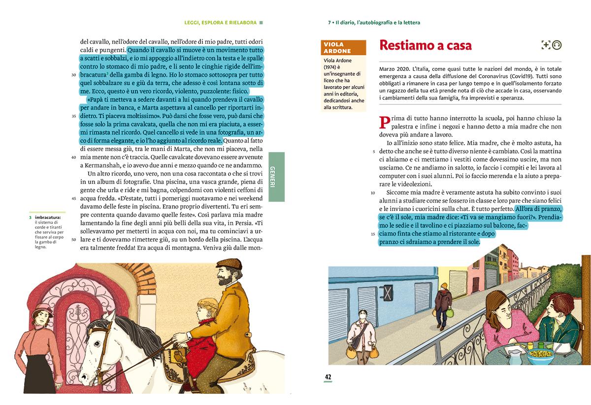 unita-7-diario-autobiografia-lettura-compagni-di-viaggio-loescher-antologia-scuola-media-restiamo-a-casa-coronavirus-covid19-ricordi-illustrazioni-illustrations-scolastica-fabio-delvo-delvox