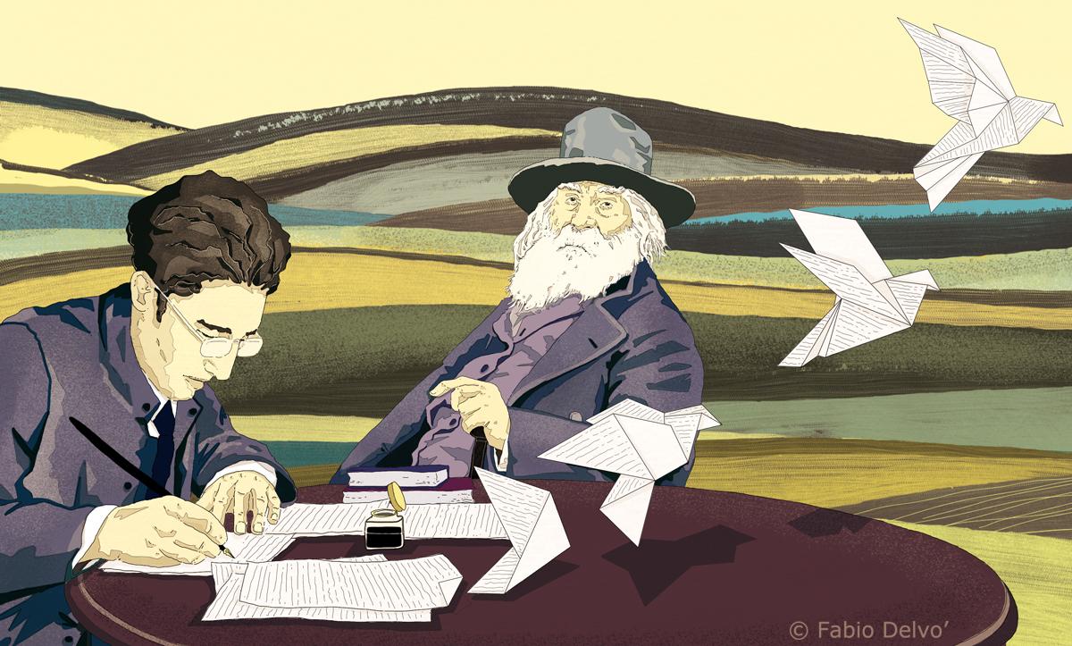 cesare-pavese-poesia-walt-whitman-tuttolibri-la-stampa-newspaper-fabio-delvo-delvox-conceptual-illustrations-illustrazioni-concettuali-concettuale-publishing-book