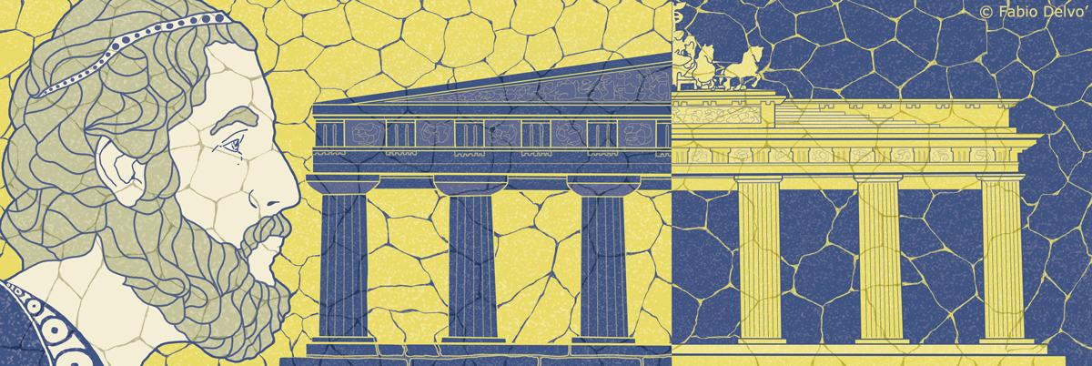 platone-grecia-filosofia-germania-brandeburgo-nazismo-letteratura-corriere-della-sera-la-lettura-illustrazione-illustrations-conceptual-concettuale-fabio-delvo-delvox-publishing-book