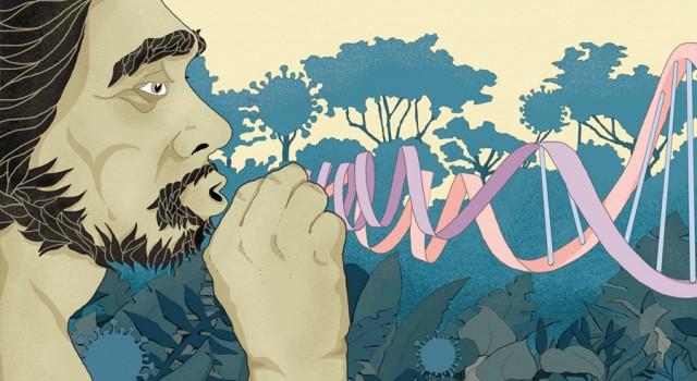 covid19-coronavirus-dna-neanderthal-impronte-letteratura-corriere-della-sera-la-lettura-illustrazione-illustrations-conceptual-concettuale-fabio-delvo-delvox-publishing-book
