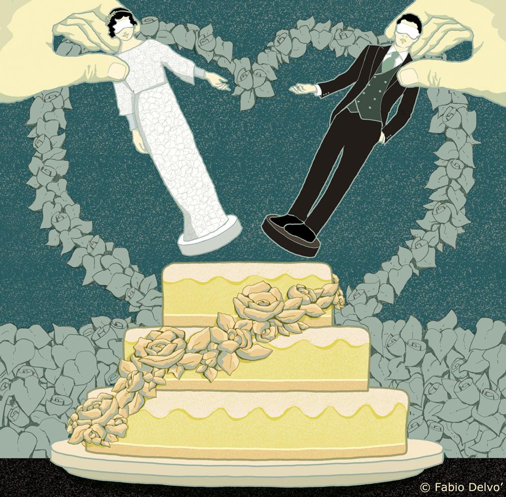 matrimonio-prima-vista-covacich-televisione-letteratura-corriere-della-sera-la-lettura-illustrazione-illustrations-conceptual-concettuale-fabio-delvo-delvox-publishing-book
