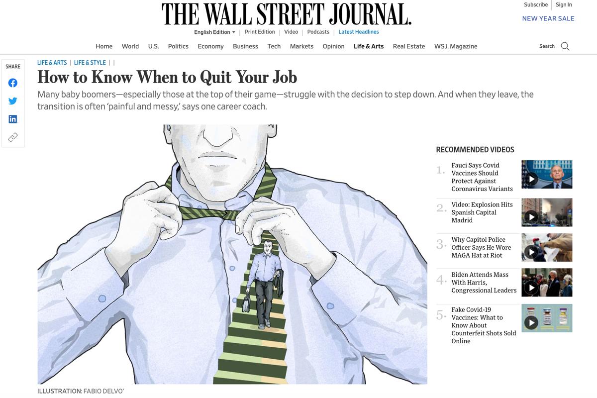 stepdown-work-life-job-wsj-wall-street-journal-lifearts-personal-journal-publishing-newspaper-fabio-delvo-delvox-conceptual-illustration-illustrations