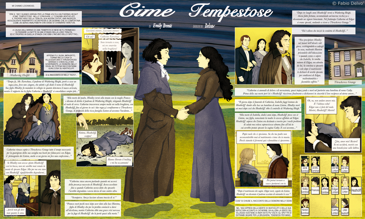 cime-tempestose-wuthering-height-emily-bronte-classico-fumetti-romanzo-libri-graphic-novel-tuttolibri-la-stampa-newspaper-fabio-delvo-delvox-illustrations-illustrazioni-publishing